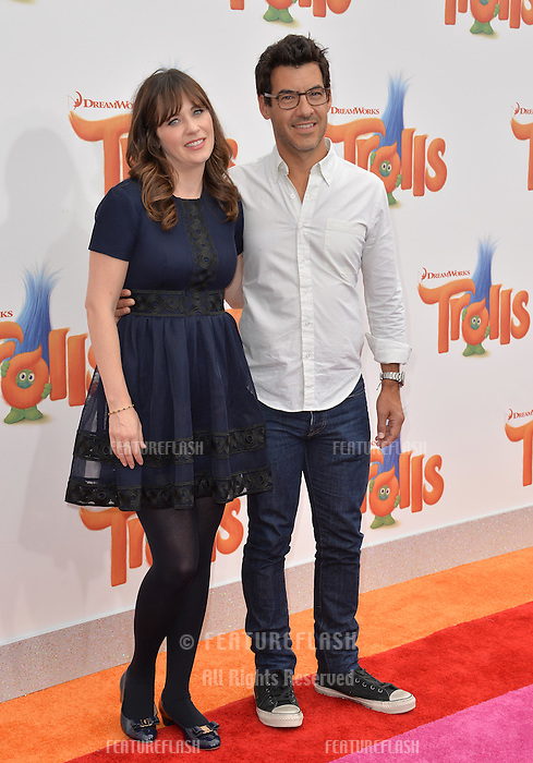 LOS ANGELES, CA. October 23, 2016: Actress Zooey Deschanel &amp; husband Jacob Pechenik at the Los Angeles premiere of &quot;Trolls&quot; at the Regency Village Theatre, Westwood.<br /> Picture: Paul Smith/Featureflash/SilverHub 0208 004 5359/ 07711 972644 Editors@silverhubmedia.com