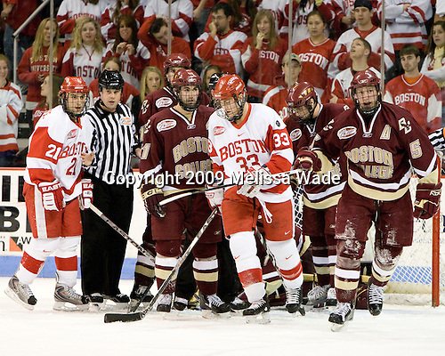 Jason Lawrence (Boston University - 21), Jimmy Hayes (Boston College - 10), Benn Ferriero (Boston College -  21),Colin Wilson (Boston University - 33), Edwin Shea (Boston College - 8), Tim Filangieri (Boston College - 5) -The Boston University Terriers defeated the Boston College Eagles 5-2 on Saturday, January 17, 2009, at Agganis Arena in Boston, MA.