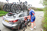 Picture by SWpix.com - 04/05/2018 - Cycling - 2018 Tour de Yorkshire - Stage 2: Barnsley to Ilkley - Yorkshire, England - Team great Britain's Jake Stewart after a crash.