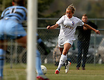 BROOKINGS, SD - OCTOBER 12: Ashley Adams #9 from South Dakota State puts a shot on goalie Helen Erb #1 from Oral Roberts University in the first half of their game Sunday afternoon at Fischback Soccer Field in Brookings. (Photo by Dave Eggen/Inertia)
