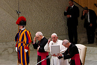 Pope Francis delivers his blessing to the faithful at the end of his weekly general audience in the Paul VI hall at the Vatican, January 22, 2020.<br />