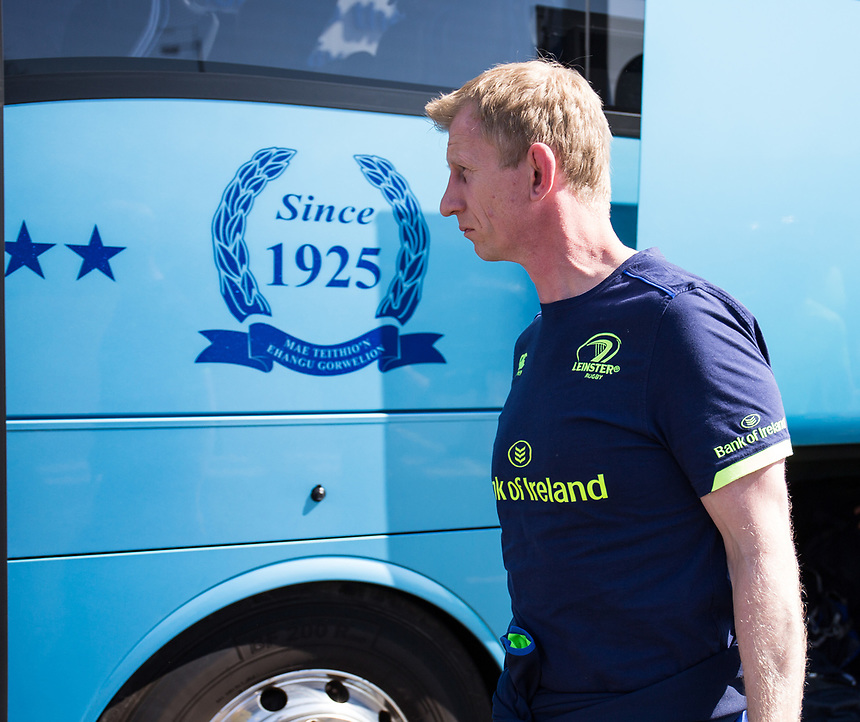 Leinster's Head Coach Leo Cullen arrives at the stadium<br /> <br /> Photographer Simon King/CameraSport<br /> <br /> Guinness PRO12 Round 19 - Ospreys v Leinster Rugby - Saturday 8th April 2017 - Liberty Stadium - Swansea<br /> <br /> World Copyright &copy; 2017 CameraSport. All rights reserved. 43 Linden Ave. Countesthorpe. Leicester. England. LE8 5PG - Tel: +44 (0) 116 277 4147 - admin@camerasport.com - www.camerasport.com