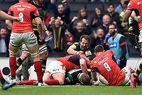 Dylan Hartley of Northampton Saints scores a try in the second half. Aviva Premiership match, between Northampton Saints and Saracens on April 16, 2017 at Stadium mk in Milton Keynes, England. Photo by: Patrick Khachfe / JMP