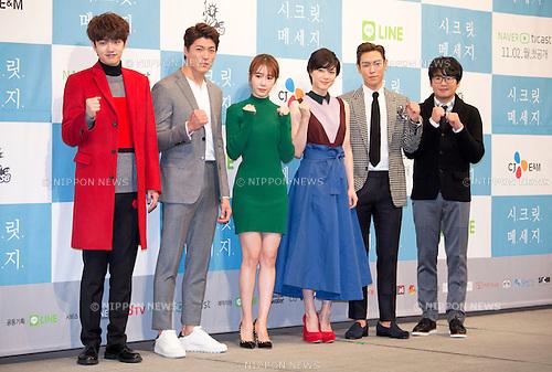 """Shin Won-Ho (CROSS GENE), Lee Jae-Yoon, Yoo In-Na, Juri Ueno, T.O.P (Big Bang) and Kim Kang-hyun : Oct  28, 2015 : (L-R) South Korean singer and actor Shin Won-Ho, actor Lee Jae-Yoon, actrees Yoo In-Na, Japanese actress Juri Ueno, South Korean actor and singer T.O.P and South Korean actor Kim Kang-hyun pose during a press presentation of new drama, """"Secret Message"""" in Seoul, South Korea. """"Secret Message"""" is a Korean-Japanese web drama series which will air online from early November. (Photo by Lee Jae-Won/AFLO) (SOUTH KOREA)"""