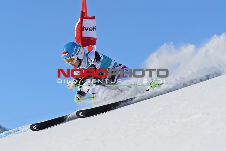 ST MORITZ, SWITZERLAND - DECEMBER 15:  Elisabeth Goergl of Austria during the Audi FIS Alpine Ski World Cup giant slalom race on December 15 2013 in St Moritz, Switzerland. <br /> Foto nph / Gunn