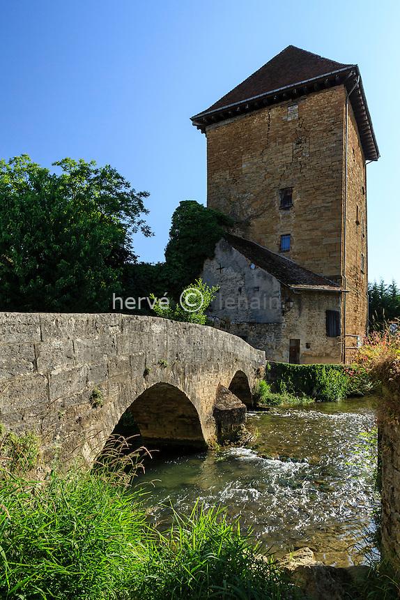 France, Jura (39), Arbois, la tour Gloriette et la Cuisance
