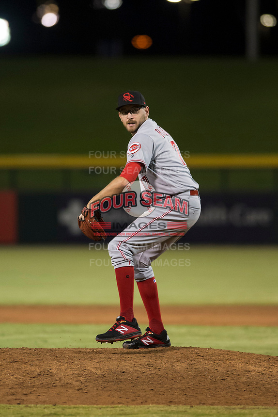 Scottsdale Scorpions relief pitcher Alex Powers (17), of the Cincinnati Reds organization, delivers a pitch during an Arizona Fall League game against the Mesa Solar Sox at Sloan Park on October 10, 2018 in Mesa, Arizona. Scottsdale defeated Mesa 10-3. (Zachary Lucy/Four Seam Images)