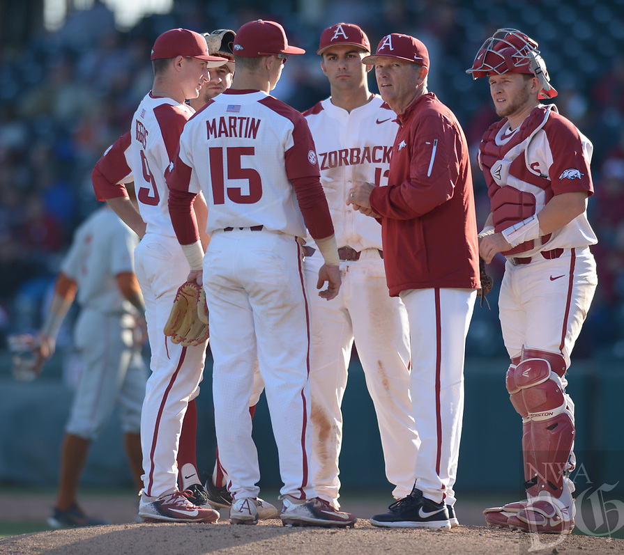 NWA Democrat-Gazette/ANDY SHUPE<br /> Arkansas Texas Wednesday, March 14, 2018, during the inning at Baum Stadium in Fayetteville. Visit nwadg.com/photos to see more photographs from the game.