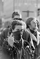Manifestation durant la conference de Montreal vers 2001 (date exacte inconnue)<br /> <br /> PHOTO : Agence Quebec Presse<br /> <br /> <br />  NOTE : Lorsque requis la photo commandée sera recadrée et ajustée parfaitement.
