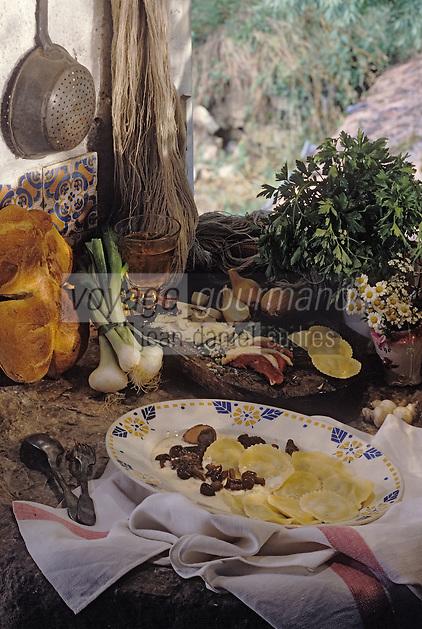"""Europe/France/Midi-Pyrénées/09/Ariège/Audressein: Ravioles au magret et à la crème d'ail - Recette de Thierry Barbizan de """"l'Auberge d'Audressein"""""""