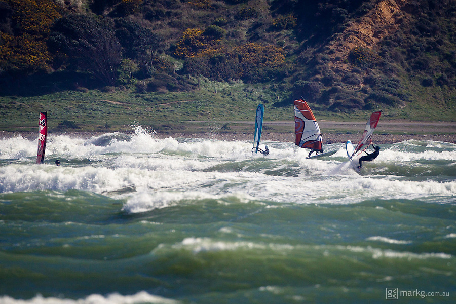 Photos from post event windsurfing at the Wellington Freewave 2010, held on the 18th September at Plimmerton, Wellington, New Zealand. Competitors competed in strong NW winds with some large waves breaking on the back bank at Plimmerton.