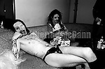 "NEW YORK - JUNE 1995:   Marilyn Manson, left, and Twiggy Ramirez, right, relax on a couch backstage at the ""Jon Stewart Show"" in June 1995 in New York City, New York.  Manson and his  band were the musical guests on the last episode of the show. (Photo by Catherine McGann)Copyright 2010 Catherine McGann"