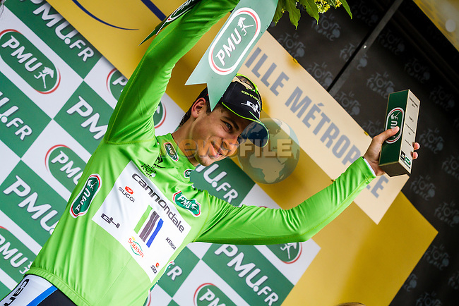 Peter Sagan (SVK) Cannondale retains the sprinter's Green Jersey after Stage 4 of the 2014 Tour de France running 163.5km from Le Touquet to Lille. 8th July 2014.<br /> Picture:Thomas van Bracht/Peloton Photos/www.newsfile.ie