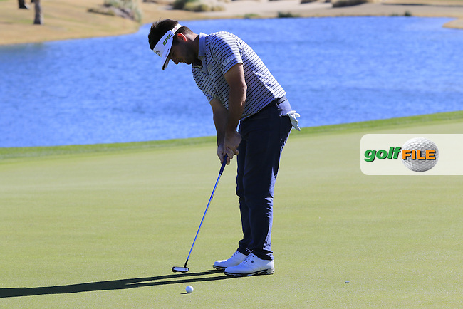 Matt Every (USA) putts on the 18th green during Saturday's Round 3 of the 2017 CareerBuilder Challenge held at PGA West, La Quinta, Palm Springs, California, USA.<br /> 21st January 2017.<br /> Picture: Eoin Clarke | Golffile<br /> <br /> <br /> All photos usage must carry mandatory copyright credit (&copy; Golffile | Eoin Clarke)