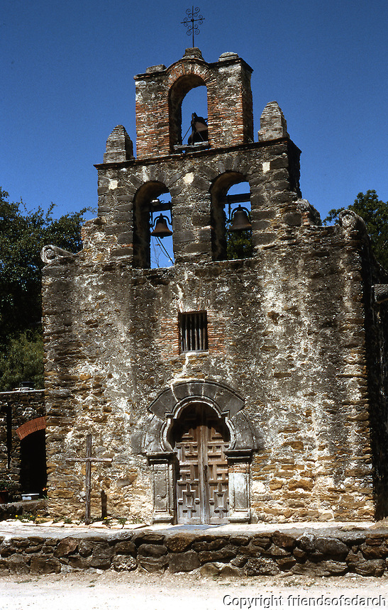 Texas: San Antonio--Mission Espada, entrance to church.