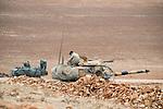 TURKEY, Suruc,10 km away from syrian border and from IS Islamic state besieged town Kobani, turkish tanks  at mountain near Mursitpinar  / TUERKEI, Suruc, 10 km entfernt von der syrischen Grenze und der vom IS belagerten Stadt Kobani, Tuerkische Panzer auf einer Anhoehe bei Mürsitpinar