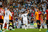 Real Madrid's Spanish defense Nacho celebrates after scoring
