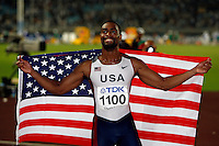 Tyson Gay of the USA after beating Asafa Powell of Jamaica at the World Championships on Sunday, August 26, 2007.Photo by Errol Anderson,The Sporting Image.