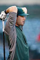 Seth Smith #15 of the Oakland Athletics before a game against the Los Angeles Angels at Angel Stadium on September 10, 2012 in Anaheim, California. Oakland defeated Los Angeles 3-1. (Larry Goren/Four Seam Images)