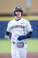 Michigan Wolverines outfielder Jesse Franklin (7) in action against the Western Michigan Broncos on March 18, 2019 in the NCAA baseball game at Ray Fisher Stadium in Ann Arbor, Michigan. Michigan defeated Western Michigan 12-5. (Andrew Woolley/Four Seam Images)