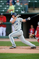 West Michigan Whitecaps catcher Drew Longley (14) follows through on a swing during a game against the Peoria Chiefs on May 8, 2017 at Dozer Park in Peoria, Illinois.  West Michigan defeated Peoria 7-2.  (Mike Janes/Four Seam Images)