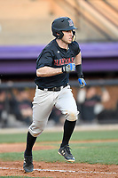 Secone baseman Matt Rothenberg (8) of the Harvard Crimson runs out a batted ball in game two of a doubleheader against the Furman Paladins on Friday, March 16, 2018, at Latham Baseball Stadium on the Furman University campus in Greenville, South Carolina. Furman won, 7-6. (Tom Priddy/Four Seam Images)
