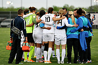 Piscataway, NJ - Sunday April 30, 2017: FC Kansas City team huddle during a regular season National Women's Soccer League (NWSL) match between Sky Blue FC and FC Kansas City at Yurcak Field.