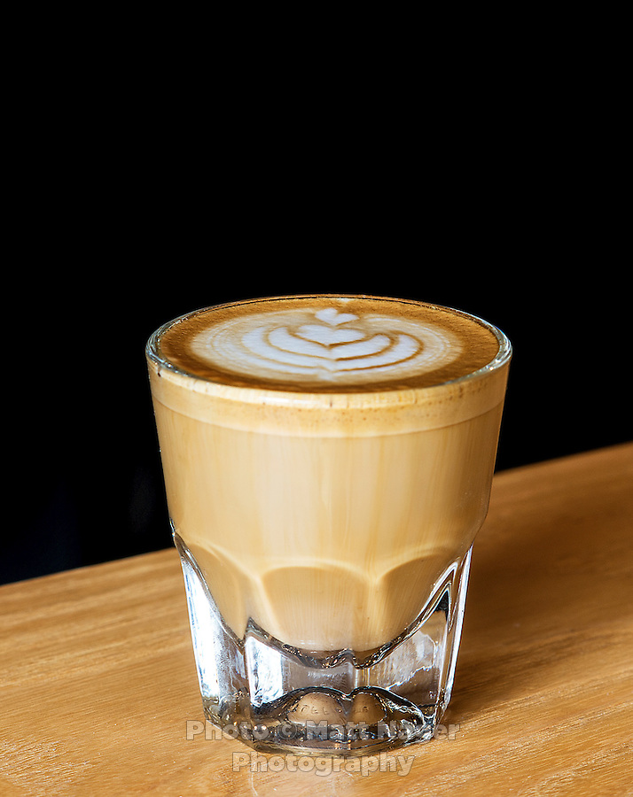 A cortado coffee drink from Thump Coffee Shop in Denver, Colorado, Wednesday, March 4, 2015. A cortado is made from half cream and half espresso.<br /> <br /> Photo by Matt Nager