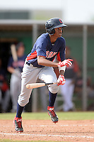 Cleveland Indians outfielder Junior Soto (33) during an Instructional League game against the Kansas City Royals on October 9, 2013 at Surprise Stadium Training Complex in Surprise, Arizona.  (Mike Janes/Four Seam Images)