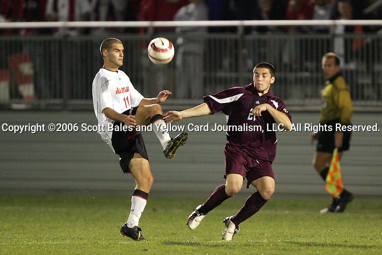 1 November 2006: Maryland's Graham Zusi (11) and Boston College's Mike Konicoff (21). Maryland defeated Boston College 1-0 in double overtime at the Maryland Soccerplex in Germantown, Maryland in an Atlantic Coast Conference college soccer tournament quarterfinal game.