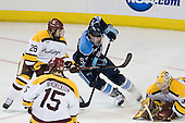 Wade Bergman (Duluth - 28), Matt Mangene (Maine - 57), Kenny Reiter (Duluth - 35) - The University of Minnesota Duluth Bulldogs defeated the University of Maine Black Bears 5-2 in their NCAA Northeast semifinal on Saturday, March 24, 2012, at the DCU Center in Worcester, Massachusetts.