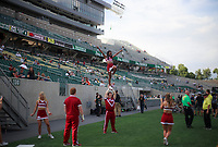 NWA Democrat-Gazette/CHARLIE KAIJO Arkansas Razorbacks cheerleaders practice before a football game, Saturday, September 8, 2018 at Colorado State University in Fort Collins, Colo.