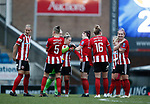 Players wait to start the second half during the The FA Women's Championship match at the Proact Stadium, Chesterfield. Picture date: 8th December 2019. Picture credit should read: Simon Bellis/Sportimage