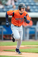 Bowling Green Hot Rods outfielder Grant Whiterspoon (22) runs to first base against the West Michigan Whitecaps on May 21, 2019 at Fifth Third Ballpark in Grand Rapids, Michigan. The Whitecaps defeated the Hot Rods 4-3.  (Andrew Woolley/Four Seam Images)