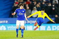 4th March 2020; King Power Stadium, Leicester, Midlands, England; English FA Cup Football, Leicester City versus Birmingham City; Caglar Soyuncu of Leicester City body checks Maxime Colin of Birmingham City
