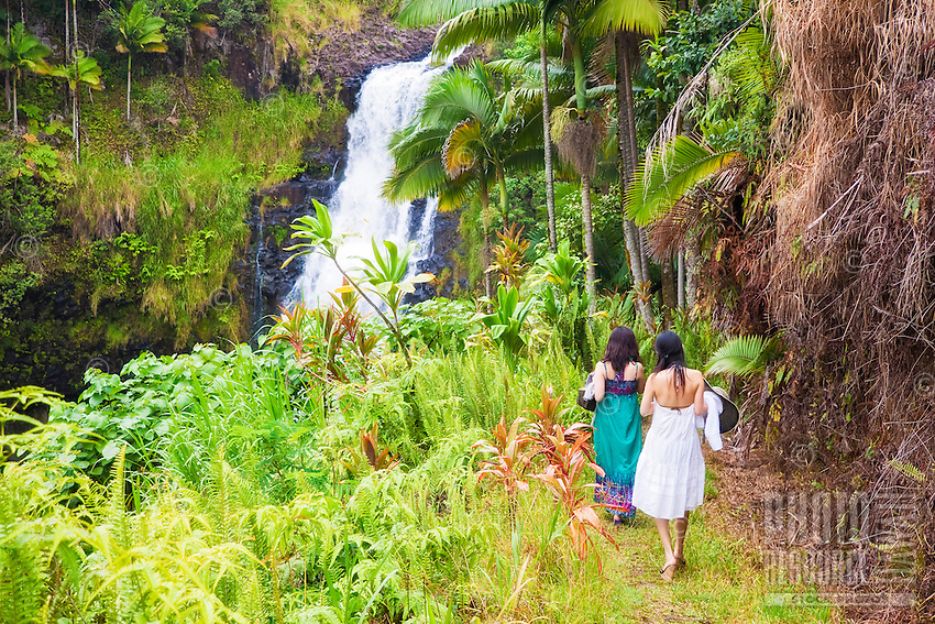 Female tourists visiting Kulaniapia Falls, tropical rainforest jungle, Hilo, Big Island.