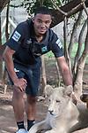 07.01.2019, Broederstroom, Johannesburg, RSA, TL Werder Bremen Johannesburg Tag 05 - Besuch Lion and Safari Park<br /> <br /> im Bild / picture shows <br /> <br /> Jean Manuel Mbom (Werder Bremen #34)<br /> mit einem Loewenbaby<br /> Foto © nordphoto / Kokenge
