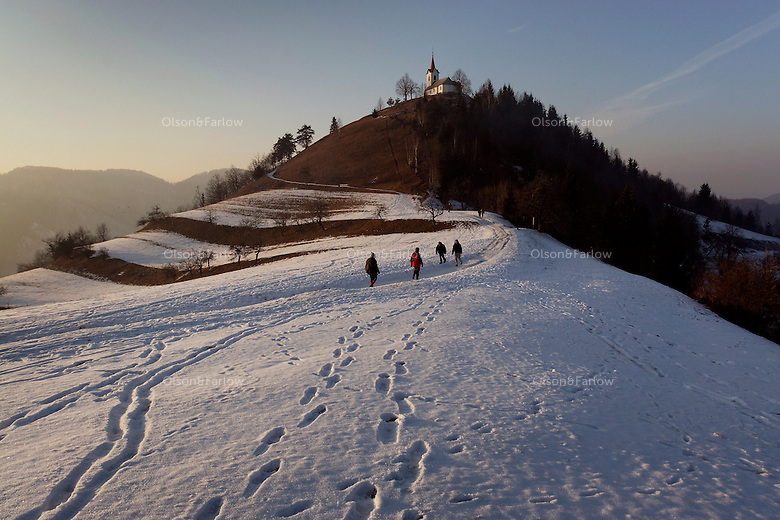 On a holiday, Slovenians go walking to enjoy the outdoors in Topol.  One of the destinations is SV. Jakob.  Slovenians love the outdoors so even a church on a hill is a destination.
