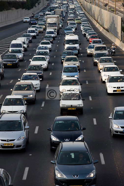 TRAFFIC AYALON HIGHWAY TEL AVIV ISRAEL