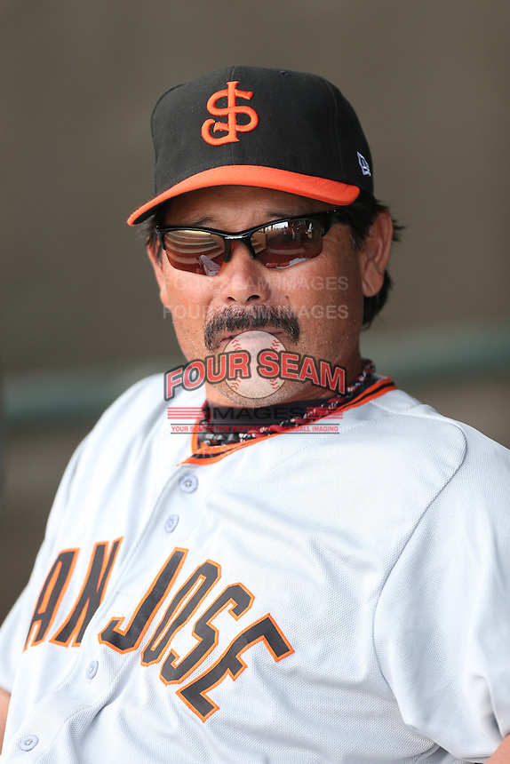 San Jose Giants Head Coach Lenn Sakata #14 before a game against the Lancaster JetHawks at The Hanger on May 3, 2014 in Lancaster, California. San Jose defeated Lancaster, 5-4. (Larry Goren/Four Seam Images)