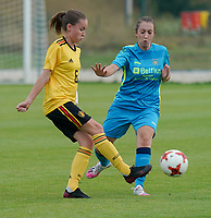 20200820 - TUBIZE , Belgium : Belgium's Noa De Causemaeker with the ball during a friendly match between Belgian national women's youth soccer team called the Red Flames U17 and Union Saint-Ghislain Tetre , on the 20th of August 2020 in Tubize.  PHOTO: Sportpix.be | SEVIL OKTEM