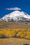 Fresh dusting of snow on the peaks in autumn over the colorful golden and orange aspen trees. Conway Summit, Mono Co., Calif.