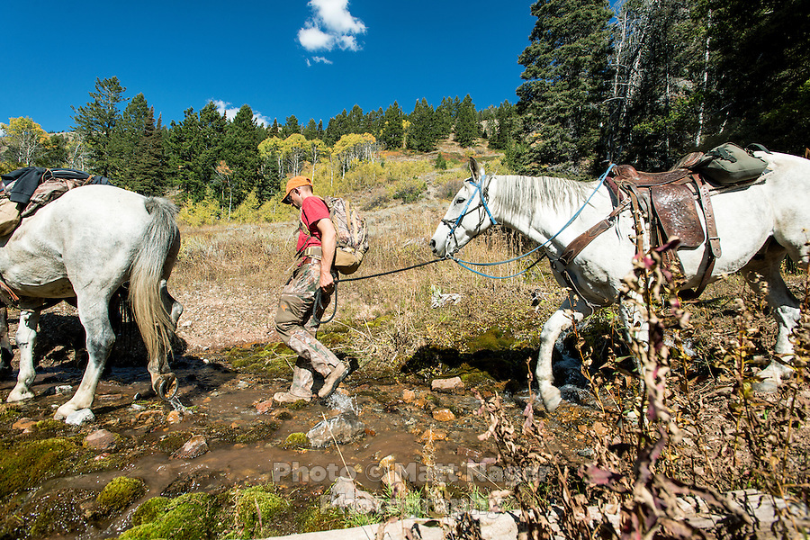 Hunter Mike Stock returns to camp after a hunt on Greyback Ridge in the Hoeback Drainage of Wyoming Region H, outside of Alpine, Wyoming, September 23, 2015.<br /> <br /> Photo by Matt Nager