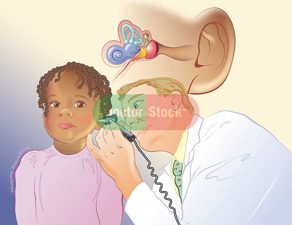 Illustration of doctor checking child's ear with anatomy of internal ear