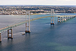 The Newport Bridge, officially known as the Claiborne Pell Bridge, spans the east passage of Naragansett Bay from Jamestown on the lower left to Newport on Aquidneck Island in Rhode Island. Aerial images of RI/Narragansett Bay. (Photo/Joe Giblin)