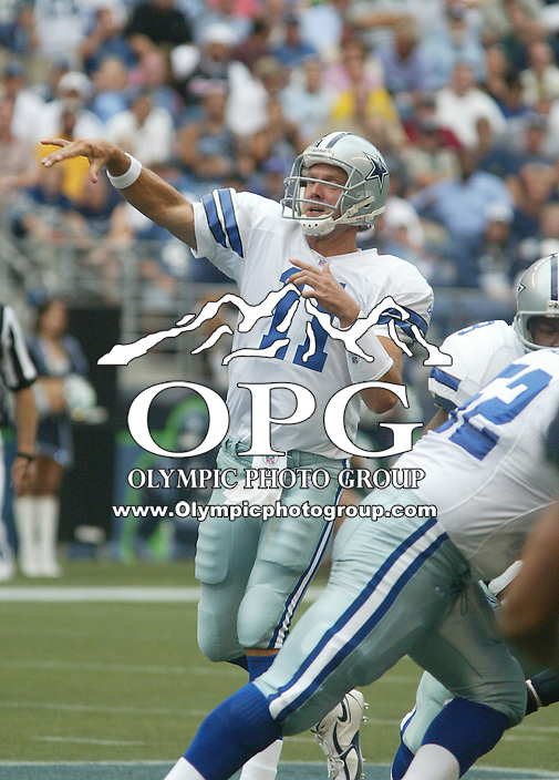22 August 2005: Dallas Cowboys quarterback Drew Bledsoe fires the ball down field against the Seattle Seahawks  at Quest field in Seattle, Wa..