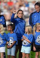Kansas City, MO - Saturday July 16, 2016: Lo'eau LaBonta prior to a regular season National Women's Soccer League (NWSL) match between FC Kansas City and the Washington Spirit at Swope Soccer Village.