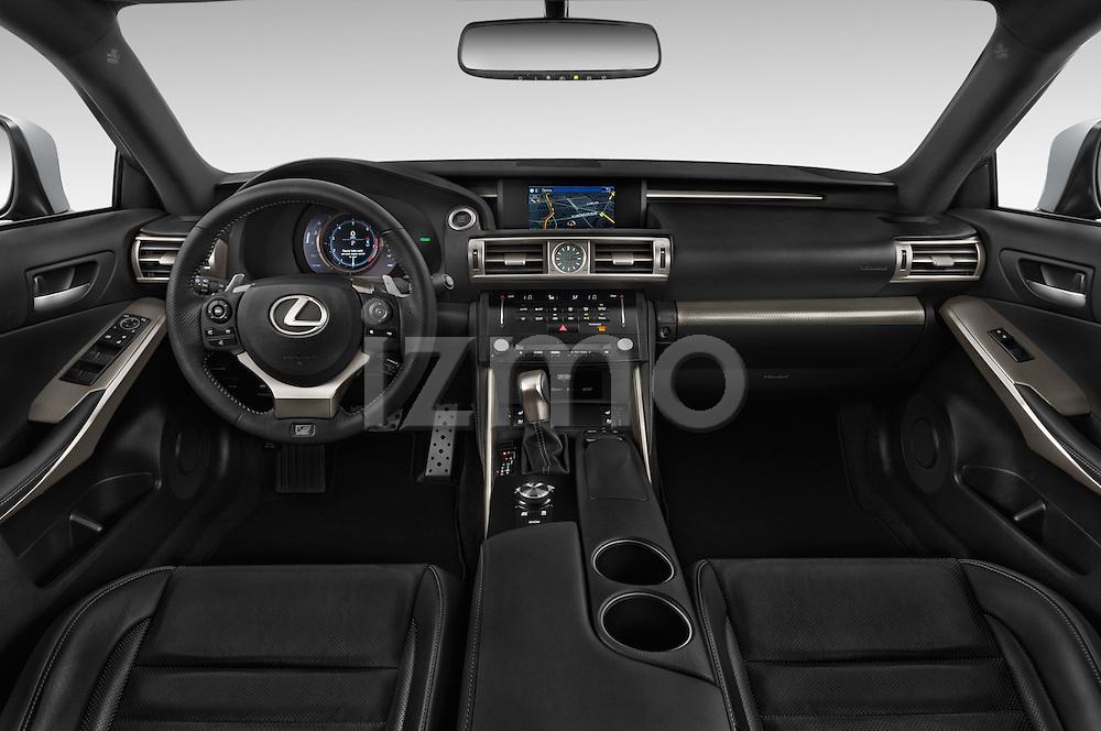 Stock photo of straight dashboard view of a 2015 Lexus LS 350 F Sport 4 Door Sedan Dashboard