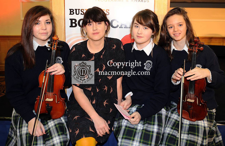 Jane Ni Dhulchaointigh, Sugru, with   Fiona Wolff , Marie Woulfe and Caoimhe Healy,  Presentation Secondary School, Tralee ,  at the Young Entrepreneur Programme Business Boot Camp at the Brandon Conference Centre Tralee on Friday. Picture: Eamonn Keogh (MacMonagle, Killarney)