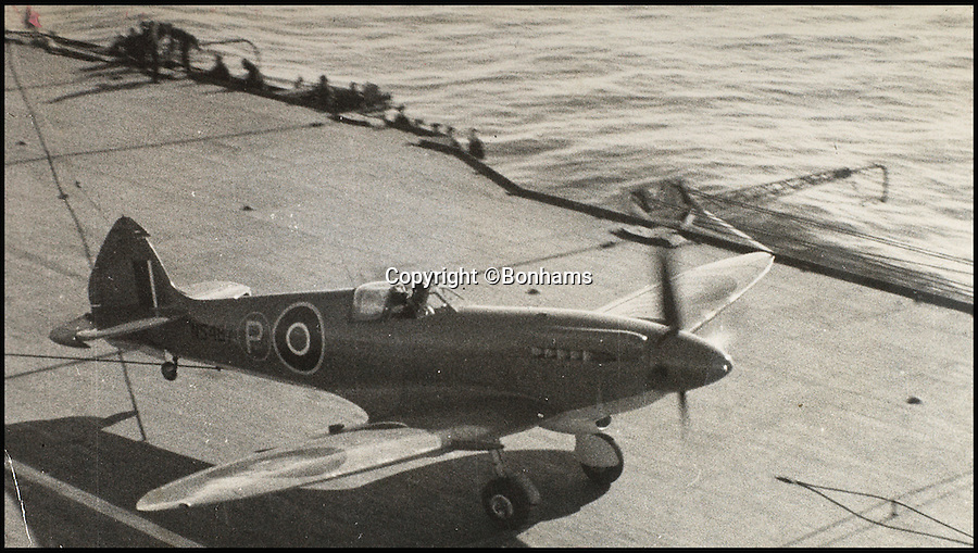 BNPS.co.uk (01202 558833)<br /> Pic: Bonhams/BNPS<br /> <br /> Eric Winkle Brown taking off in a Seafire plane on HMS Illustrious in 1944.<br /> <br /> The historic medals and logbooks of legendary test pilot Eric 'Winkle' Brown have been saved for the nation and will be displayed in a British museum.<br /> <br /> A deal has been secured for the hero's prestigious decorations and all his flying journals after they failed to sell at auction earlier this week.<br /> <br /> They had been expected to sell for &pound;200,000, possibly to an overseas buyer, but bidding only reached &pound;140,000, falling short of the reserve price.<br /> <br /> Now it has emerged that the National Museum of the Royal Navy has negotiated a deal with Captain Brown's family to buy his stunning archive.